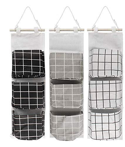 Pared Colgando Almacenamiento Bolso,3 Pack Bolso Colgante Organizador Impermeable Tela de lino Colgante Organizador Encima los Puerta Armario Organizador para Dormitorio Baño Cocina Negro Gris Blanco