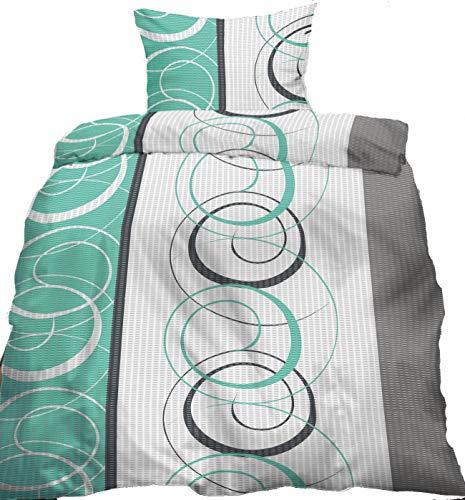 KH-Haushaltshandel Seersucker Bettwäsche, 135 x 200 +80x80 cm, bügelfrei, grün grau Kringel, Microfaser (60316)