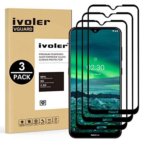 ivoler 3 Stücke Panzerglas Schutzfolie für Nokia 2.3, [Volle Bedeckung] Panzerglasfolie Folie Hartglas Gehärtetem Glas BildschirmPanzerglas für Nokia 2.3