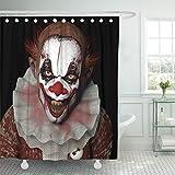 TOMPOP Duschvorhang Scary Scarier Clown 1 mit scharfen Spitzen Zähnen glänzen auf Sie schwarz Horror wasserdichtes Polyestergewebe Set mit Haken, Polyester-Mischgewebe, Multi, 72 x 72 inches