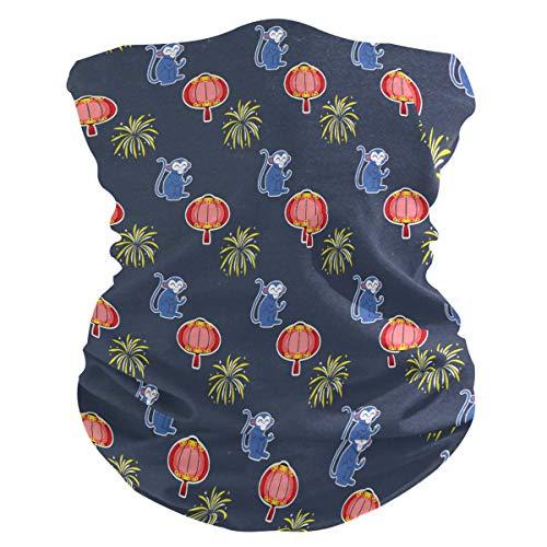 LIUBT Bandana Gesichtsmaske Staubschutz Outdoor Sport Kopftuch Sonne UV Motorrad Lustige Affe Laterne Muster Gesicht Schal für Frauen Herren