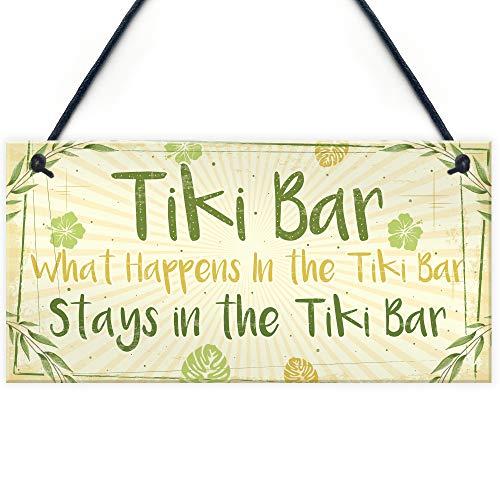 RED OCEAN Tiki Bar Accessories Home Garden Bar Plaque Pub Bar Kitchen Man Cave Sign Friendship Gift