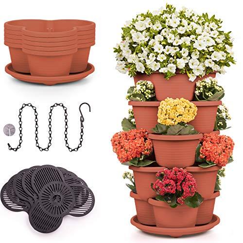 Stackable Planter Vertical Garden 15 'pots' for Vegetables, Flowers, Herbs, Succulents, Microgreen Gardening┃5 Tier - 15 Spaces Growing System for Indoor / Outdoor, Tower Garden (Terra Cotta, 5 Tier)