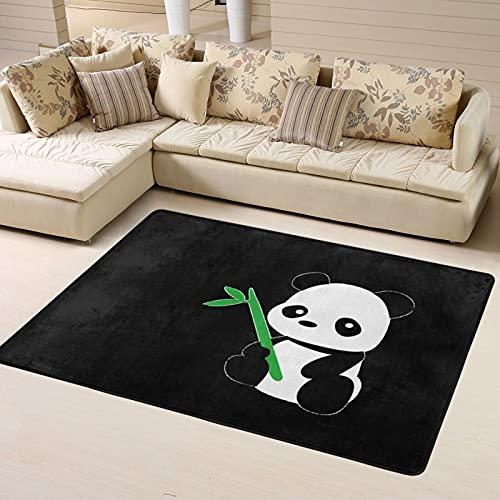 Sunzhenyu Niedlicher Panda Bambus-Teppich, Bezug Läufer Pad Teppich für Wohnzimmer, Teppich für Schlafzimmer, extra weich und bequem, rutschfester Teppich, waschbar, 183 x 122 cm