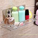 Strong Wall Mounted Sticky Shower Bathroom Kitchen Rack Shelf Holder for Soap Shampoo Bath Towel Cleaning Supplies Kitchen Small Gadgets Silver