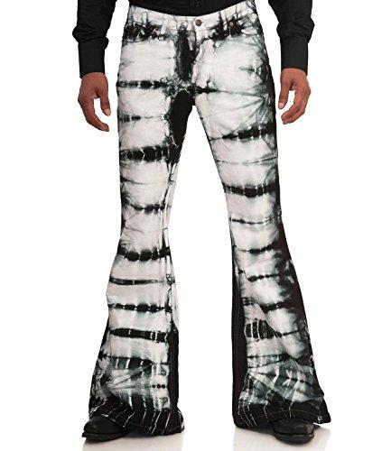 Comycom zwart wit gebatikte hippie slagbroek