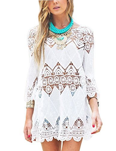 Jielucix Strandkleid Damen Kurze Kleid Badeanzug Bikini Spitze Crochet Cover Up, M, Birnenblume weiß
