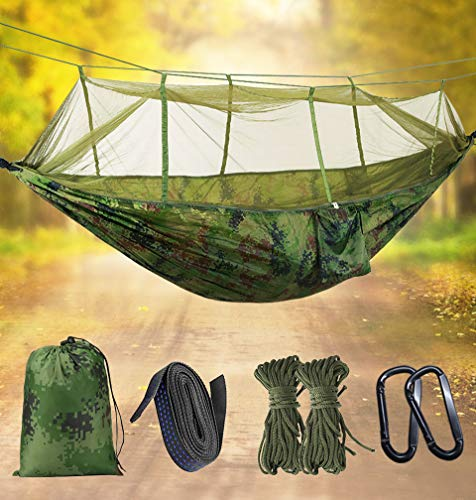 Idefair Hammock with Mosquito Net, Double Camping Hammocks Bug Net Waterproof Portable and Lightweight for Backpacking Hiking Travel Outdoor