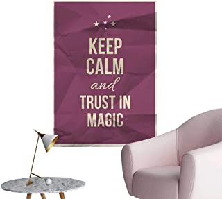 Alexandear Keep Calm Decals for Home Room Decoration Keep Calm and Trust in Magic Quote on Purple Crumpled Paper Image with Frame Corridor Walkway Wall Beige Plum W16 x H20
