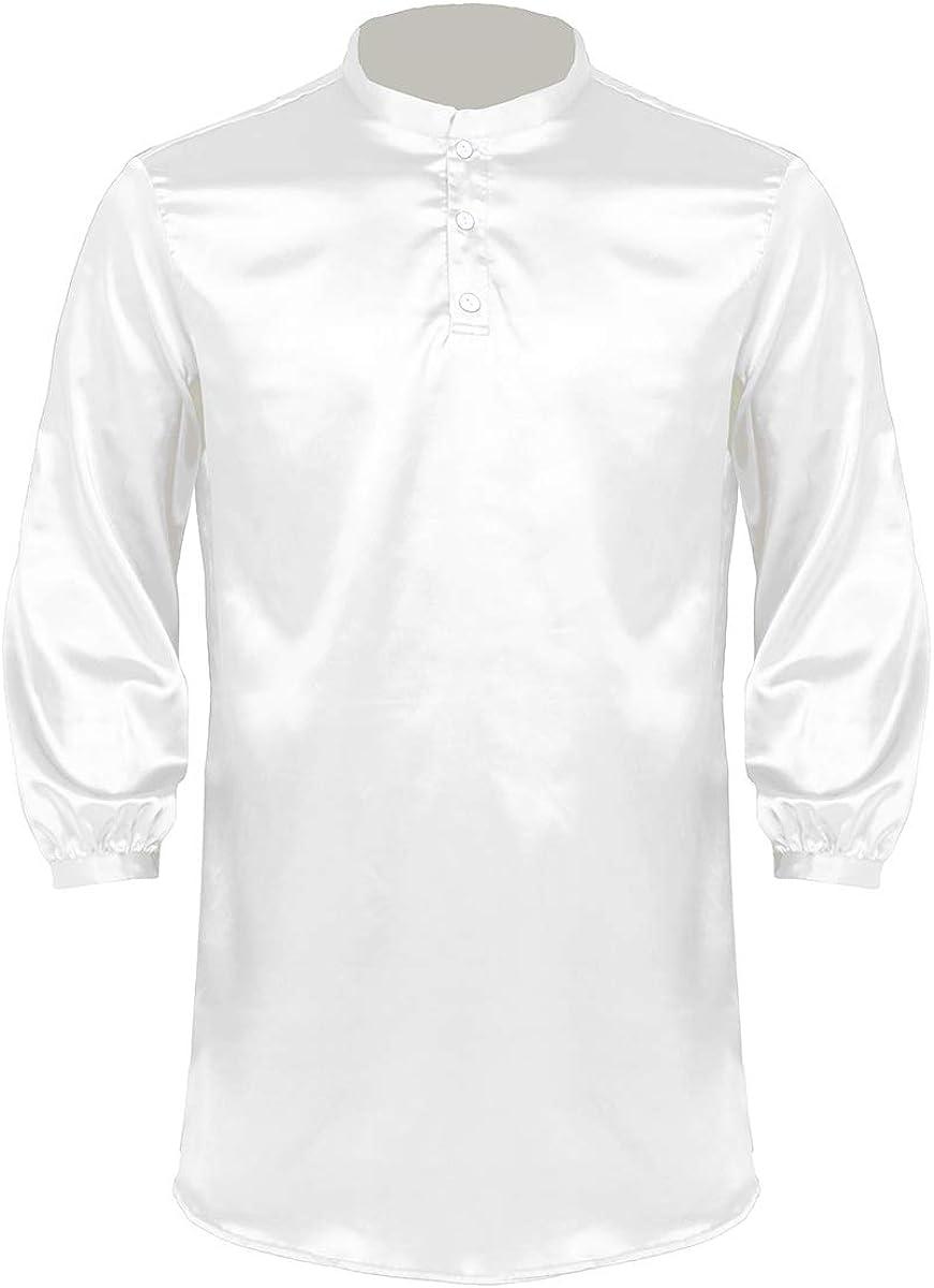YOOJOO Mens Satin Silk Nightshirt Sleepwear Button Down Top Long Sleeve Nightgown Pajamas Sleep Shirt