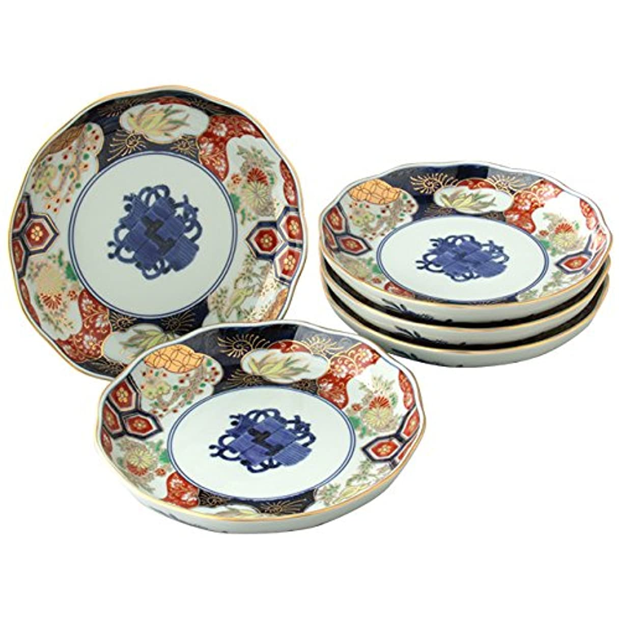 破壊的開いた主要なプレート 皿 : 有田焼 巻物四君子 銘々皿 セット