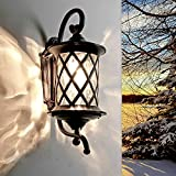 Elegante Außenwandleuchte in Antik Aluminium Glas E27 max. 60 Watt Terrassenleuchte Wandleuchte Wandlampe Gartenlampe