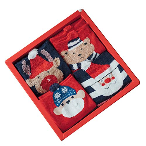 HTTOAR Calcetines Navideños para Mujer, Calcetines Dibujos 4 pares de Bonitos Calcetines de Algodón para Damas.(rojo azul)