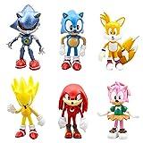 Sonic Cake Topper, 6 Piezas Sonic Figuras Set Sonic The Hedgehog Cake Decoración Figuras Sonic Mini Figuras Set Niños Cumpleaños Decoración Cake Topper Decoración