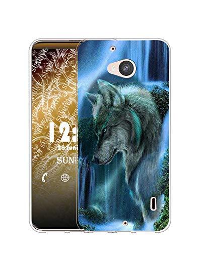 Sunrive Kompatibel mit Nokia Lumia 930 Hülle Silikon, Transparent Handyhülle Schutzhülle Etui Hülle (Q Wolf 3)+Gratis Universal Eingabestift MEHRWEG