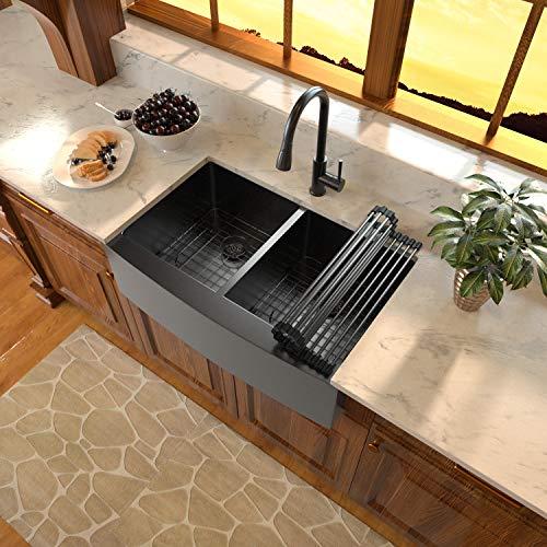Black Stainless Steel Farm Sink - Sarlai 33 inch Farmhouse Sink Gunmetal Matte Black Double Bowl 50/50 Kitchen Sink Apron Front 16 Gauge Black Stainless Steel Kitchen Double Sink Basin