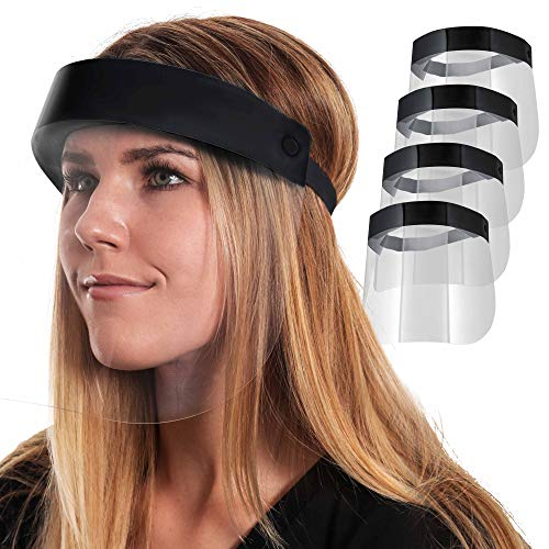 Salon World Safety Black Face Shields - Ultra Clear Protective Full Face Shields to Protect Eyes, Nose and Mouth - Anti-Fog PET Plastic, Elastic Headband - Sanitary Droplet Splash Guard (Pack of 4)