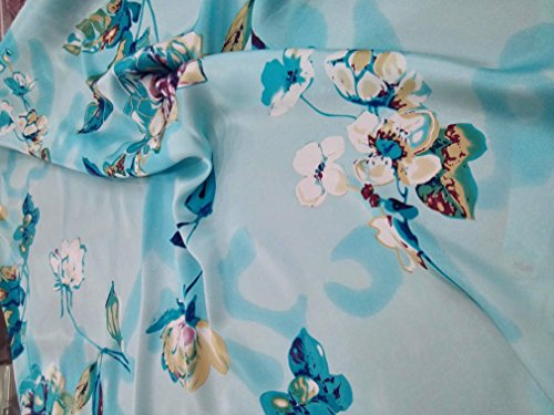 Maxfeel 100% Pure Mulberry Silk Charmuse Floral Fabric 45 Wide for Bedding Dress by The Yard or by Half Yard (Sold by Half a Yard, 44)