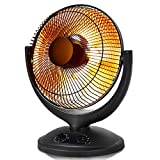 Tangkula Oscillating Dish Heater, Electric Parabolic Radiant Space Heater for Home and Office, Radiant HeatDish w/ Adjustable Tilt , 2 Heat Settings, Tip-Over and Overheating Protection