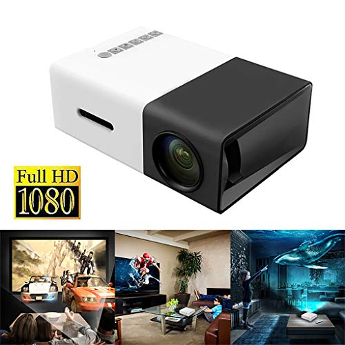 Mini Heimkino Beamer, 400 Lumen Video Projektor, Native 1080P LCD Beamer Full HD, Heim/Berufsprojektor für Smartphone/PC/TV-Box/Laptop (Schwarz)