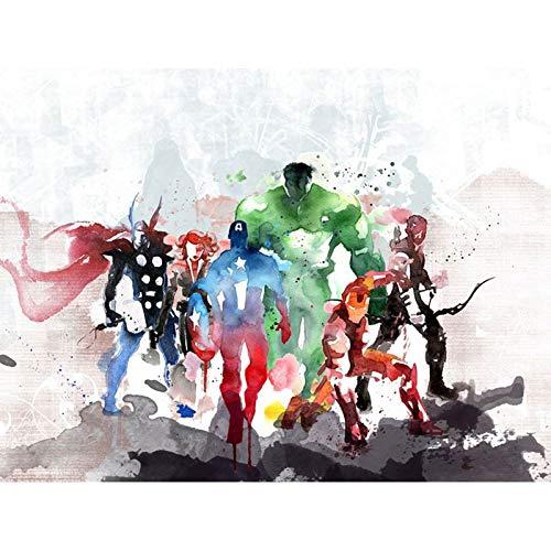 Better Selection Superheld Kryptonian Diamant-Gemälde-Set für Erwachsene, 5D Deko-Kunst zum Selbstgestalten, Geschenkset mit Kristall-Strasssteinen, 30x40 cm The Avengers Aquarell