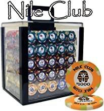 Brybelly 1,000 Ct Nile Club Poker Set - 10g Casino Grade Ceramic Chips with Acrylic Display Case for Casino Games