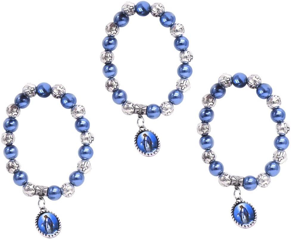 VOSAREA 3 Piezas de Pulsera Cruzada de Perlas Pulsera de Perlas Redondas Pulsera Elástica Joyas de Piedras Preciosas Regalo para Cumpleaños Amigos Amantes Mujeres Hombres Azul Oscuro