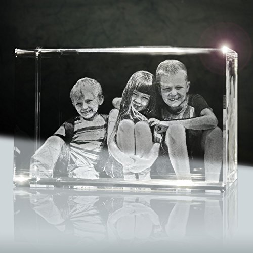 Foto im Glas innen (3D) | Quader 90mm | 1 bis 3 Personen oder Tiere zB als Geschenk für Oma und Opa