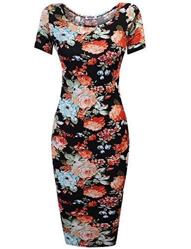 Hotouch Womens Floral Sweetheart Bodycons Midi Dress Short Sleeve Scoop Neck Pencil Slim Dress 8 black Short Sleeve Medium