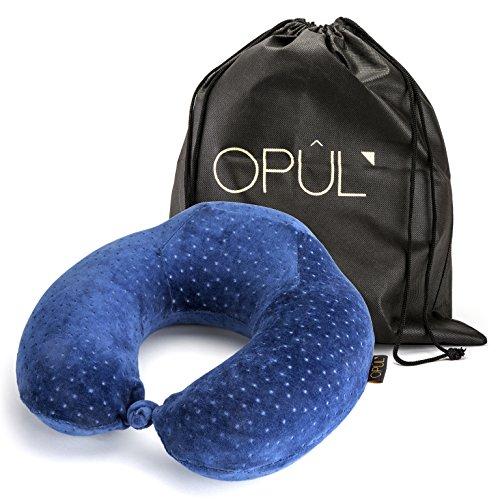 Cuscino da viaggio in Memory Foam - Confortevole supporto per il collo durante il volo e il viaggio, design ergonomico - Cuscino per il collo rilassante per dormire di OPUL (Blu)