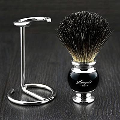 Haryali Hand Assembled Sophist Collection Black Badger Hair Shaving Brush With German Stainless Steel Wire Stand.
