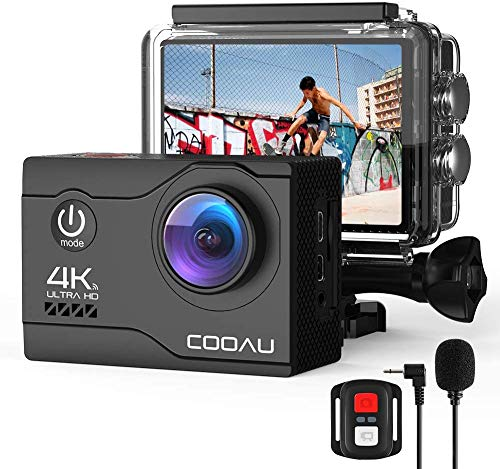 COOAU 4K Action Cam 20MP WiFi Sports Kamera Unterwasserkamera 40m mit Externs Mikrofon Fernbedienung Helmkamera Wasserdicht Digitale Videokamera mit EIS Stabilisierung (2)