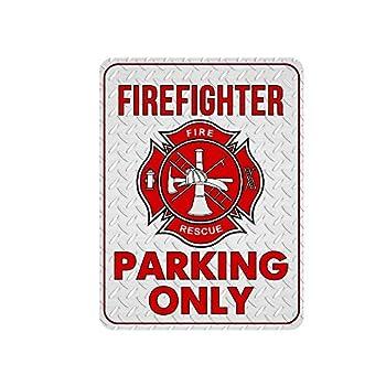 Novelty Firefighter Metal Sign Funny Firefighter Parking Only Metal Signs 12 x 9 Metal Signs for Fire Fighter Firetruck Parking Sign Fire Fighter Wall Decor Firefighter Decor Fire Fighter Signs