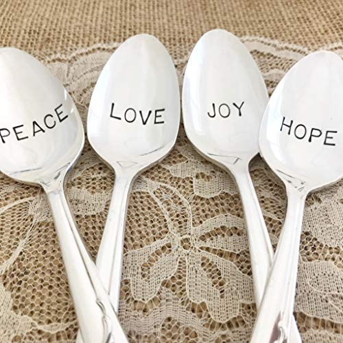 Set of 4, Hand stamped vintage spoons, Christmas wishes, love joy hope peace