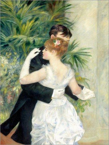Leinwandbild 100 x 130 cm: Tanz in der Stadt von Pierre-Auguste Renoir - fertiges Wandbild, Bild auf Keilrahmen, Fertigbild auf echter Leinwand, Leinwanddruck