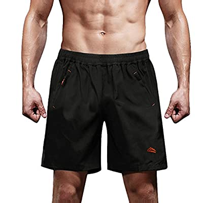 MAGCOMSEN Athletic Shorts Men Track Shorts Quick Dry Hiking Shorts Men Running Shorts for Men Volleyball Shorts Soccer Shorts Men Black
