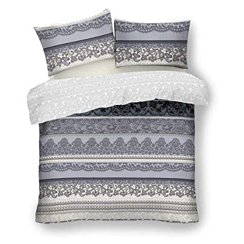 FAIRWAYUK Indian Ethnic Bedding Set, Printed Duvet Quilt Cover Double with Pillowcase, Grey, Easy Care