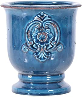 Little Green House Ceramic Blue Round Vase - Medium