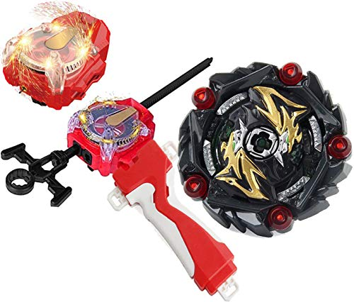 Bey Battle Burst Blade Evolution GT Booster B-164 Super King Curse Satan.Hr.1D Red Sparking Left & Right Launcher Handle Starter Set Gaming Battling Top God Bay Lr Bey launcher Spinning Toy Boy's Gift