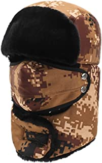 Hat Fashion Unisex Windproof Ski Warm Thick Balaclava With Ear Flap Face Mask Motorcycle Face Shield For Men Women Neck Warmer For Winter Outdoors Cycling Snowboarding Hiking Camouflage Hunting Troope