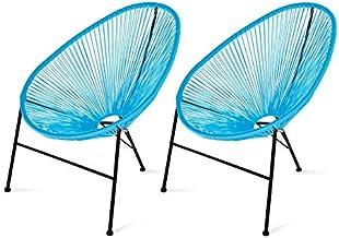 Acapulco Sill/ón Mecedora para Interior y Exterior Color Azul Estructura y pies con Revestimiento de Polvo