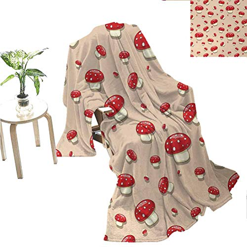 jecycleus Mushroom Comfortable Large Blanket Amanita Toxic Mushroom Illustration Spotted Summer Woodland Forest Clip Art Microfiber Blanket Bed Sofa or Travel W70 x L90 Inch Ivory Red Tan