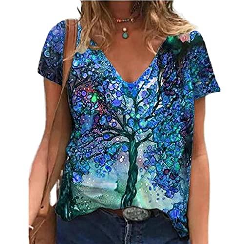 Elesoon Camiseta de verano para mujer, talla grande, manga corta, diente de león geométrico, diseño gráfico de árbol, blusa suelta, B-blue Tree, 48