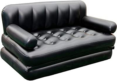 Credly 5 in 1 Inflatable Three Seater Queen Size Sofa Cum Bed with AC Pump (Black)