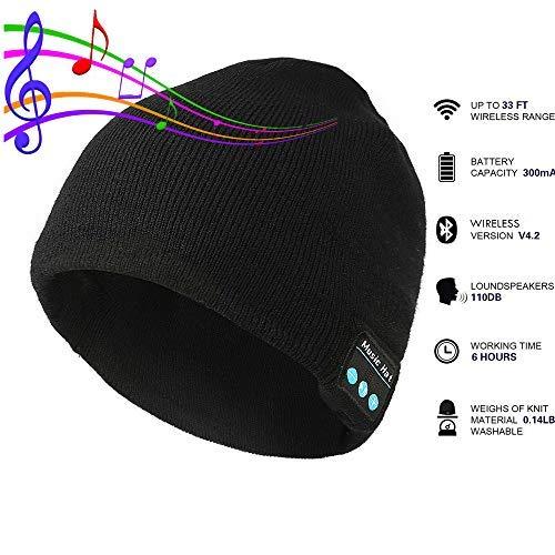 Pardecor Tech Speaker Beanie Hats with Bluethooth Headphones Black