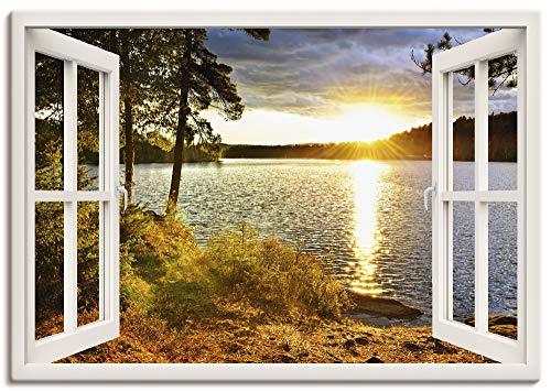Artland Leinwandbild Wandbild Bild Leinwand 100x70 cm Wanddeko Fensterblick Fenster Landschaft Natur Wald See Sonnenuntergang Wolken K2RH