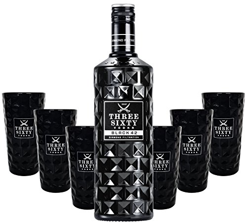 Three Sixty Black 42 Vodka 3L (42% Vol) + 6x Black Longdrink-Gläser schwarz -[Enthält Sulfite]