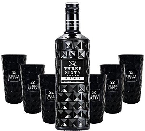 Three Sixty Black 42 Vodka 3L (42% Vol) + 6x Black Longdrink-Gläser schwarz -[Enthält Sulfite]
