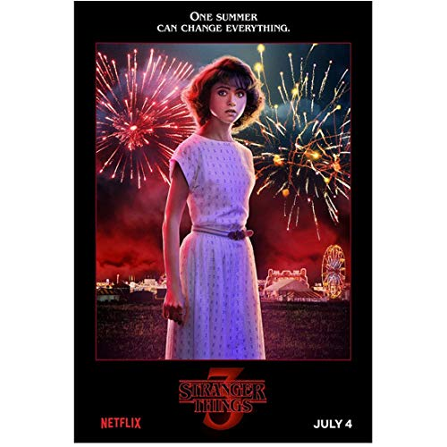 Stranger Things (TV Series 2016 -) 8 Inch x 10 Inch photograph Natalia Dyer Wearing White Dress w/Fireworks Behind Her kn