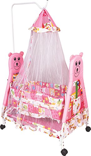 OBBO Baby Kick and Play Crib Cum Palna Bedding Set with Mosquito Net (Pink)